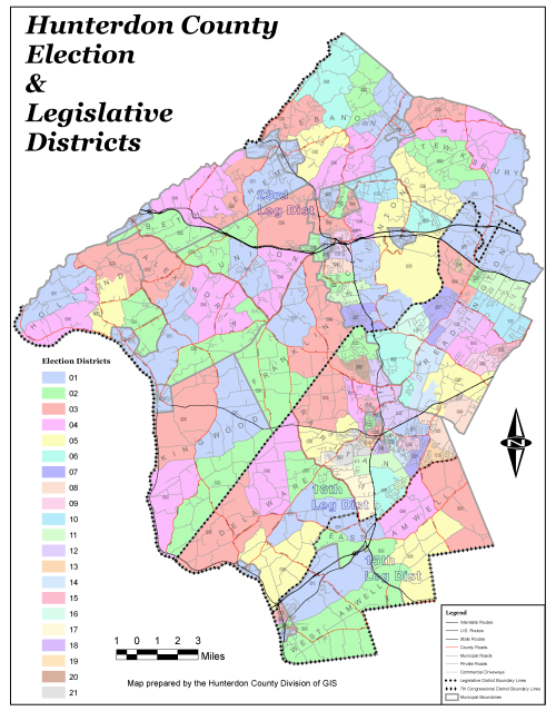 Hunterdon County Election Board - District map us election