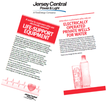 JCP&L Live Support Equipment and Private Wells for Water