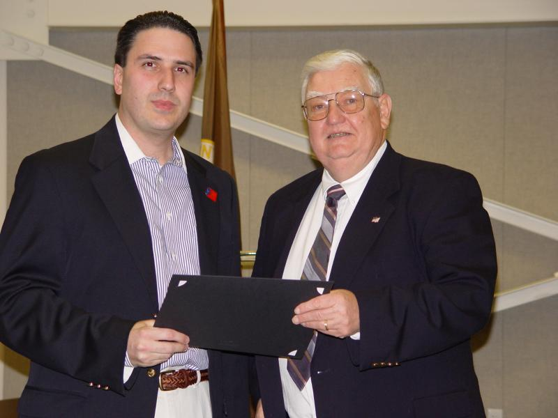 Shaun Van Doren, of the Hunterdon County Shade Tree Commission and Freeholder Director, Paul C. Sauerland Jr.