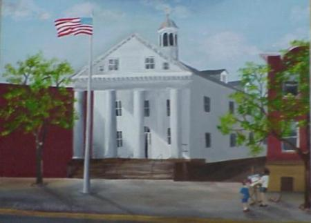 Hunterdon County Historic Court House - Watercolor Painting by Katie Attinello