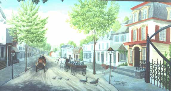 Mural of Milford Borough Depicting the town in 1911 by Adrienne Crombie